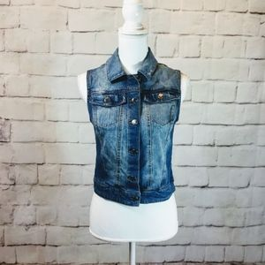 Mossimo Faded Blue Denim Cropped Vest